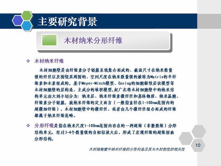 答辩时间:2007年6月12日 答辩地点:北京林业大学科研楼 答 辩 人:李蓓梅 指导教师:赵广杰 教授       答辩提纲:   木材细胞壁中的纤维可以作为重要的生物质资源纤维原料来进行开发利用。因此,研究木材细胞壁中纤维的结构和特性,将会对于利用木材制备纤维材料,提高木材的附加值等具有十分深远的意义。   基于分形理论和分形几何学模型,文章将木材细胞壁中的纤维素分子链簇视作分形体,计算出纳米尺度附近各级纤丝状结构单元的分形维数,进而讨论分维值所反映出的纤丝形态结构特性以及细胞壁超微分形体系的自嵌套特