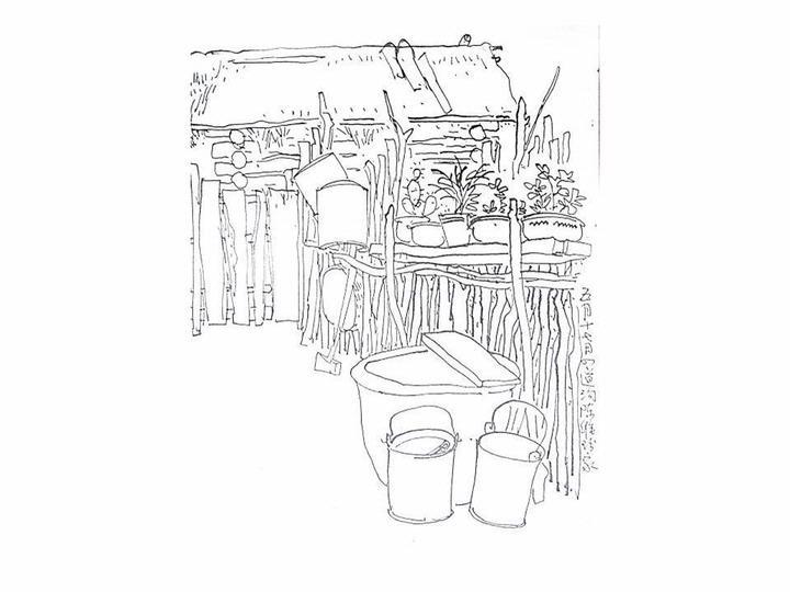 木桶简笔画三视图