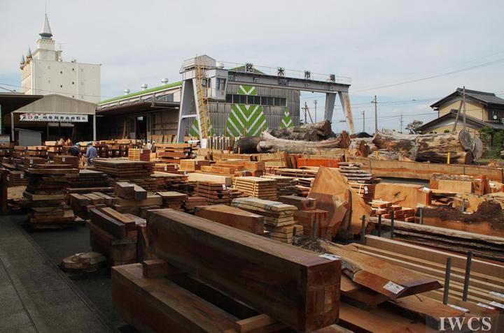 日本岐阜木材市场拍卖会